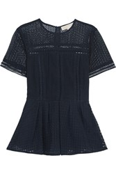 Michael Michael Kors Embroidered Mesh And Broderie Anglaise Cotton Blend Peplum Top Midnight Blue