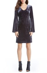 Karen Kane Women's Velvet Bell Sleeve Sheath Dress Granite