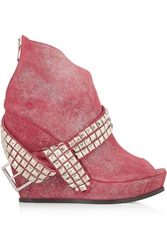 Balmain Glam Stud Embellished Glitter Finished Suede Wedge Ankle Boots