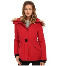 Jessica Simpson Belted Polybonded With Faux Fur Red Women's Coat