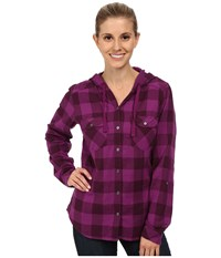 Columbia Times Two Hooded Long Sleeve Shirt Plum Buffalo Plaid Women's Long Sleeve Button Up Pink