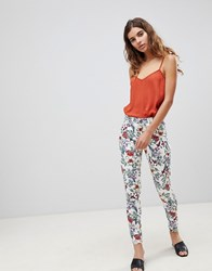 Brave Soul Karlie Floral Print Trousers Cream