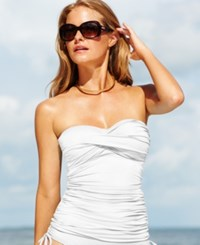 Anne Cole Twist Front Ruched Tankini Top Women's Swimsuit White