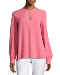 Michael Kors Split Neck Silk Blouse Pink