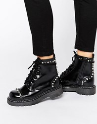 T.U.K. Anarchic Stud Lace Up Chunky Leather Flat Ankle Boots Black Leather