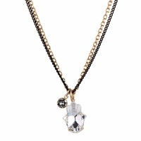 Nadia Minkoff Crystal Hamsa Necklace Gold Black Gold
