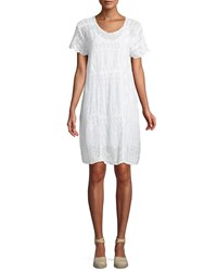 Johnny Was Mixed Berry Georgette Short Sleeve Shift Dress Plus Size White