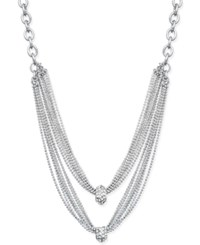 Inc International Concepts Silver Tone Two Row Crystal Cluster Chain Necklace Only At Macy's