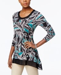 Jm Collection Mesh Trim Feather Print Top Only At Macy's Feather Inlay