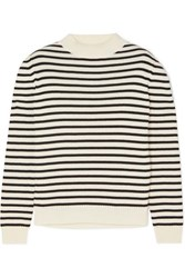 Saint Laurent Striped Cotton And Wool Blend Sweater White