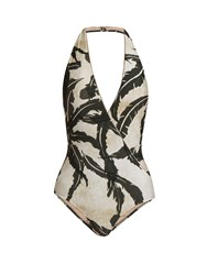 Adriana Degreas Martinique Print Halterneck Swimsuit Green Multi