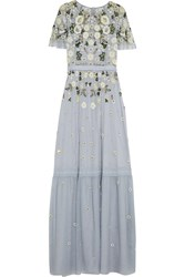 Needle And Thread Embellished Tulle Gown Light Blue