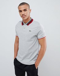 Lacoste Sport Tipped Collar Polo In Grey