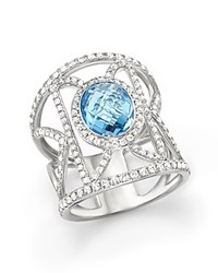 Bloomingdale's Blue Topaz And Diamond Geometric Ring In 14K White Gold