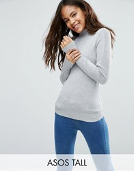 Asos Tall Jumper With Turtle Neck In Soft Yarn Grey