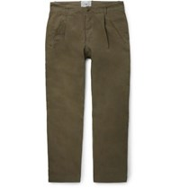 Folk Assembly Tapered Pleated Cotton Canvas Trousers Green