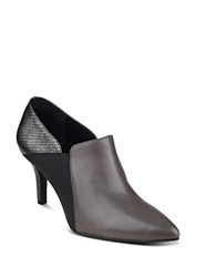 Anne Klein Yanessi Snake Embossed Leather Ankle Boots Dark Grey