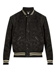 Saint Laurent Camouflage Jacquard Cotton Blend Bomber Jacket Black