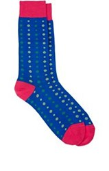 Richard James Mixed Dot Pattern Mid Calf Socks Blue