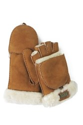 Australia Luxe Collective Genuine Shearling Trim Convertible Mitt Beige