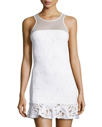 La Pina Mesh Yoke Lace Racerback Dress White