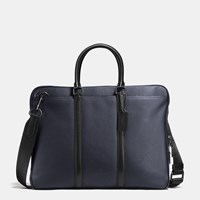 Coach Harness Metropolitan Slim Brief In Pebble Leather Bk Midnight Black