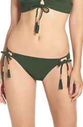 Robin Piccone Women's Side Tie Bikini Bottoms Jungle Green