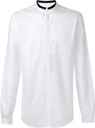 Dolce And Gabbana Contrast Mandarin Collar Shirt White