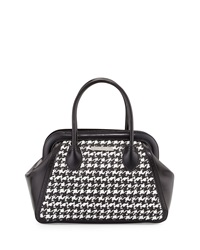 Charles Jourdan Viva Houndstooth Leather Satchel Bag Black White