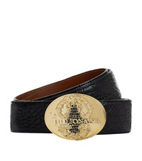 Billionaire Embossed Buckle Caiman Belt Unisex Black