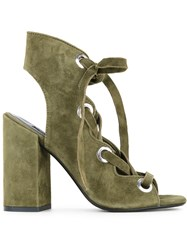 Senso Uba Sandals Women Suede Synthetic Resin Kid Leather 41 Green