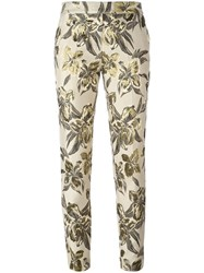 Christian Pellizzari Floral Print Cropped Trousers Nude Neutrals