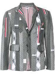 Thom Browne Suiting Tie Embroidery Sport Coat Grey