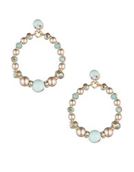 Carolee Turquoise Sands Faux Pearl Beaded Gypsy Hoop Earrings Gold Mutli