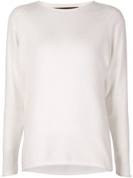 The Elder Statesman Drop Shoulder Sweater White