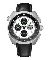 Tockr Watches Air Defender Panda Chronograph Watch With Leather Strap White Black