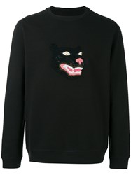 Mhi Maharishi Embroidered Panther Sweatshirt Black