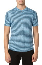Good Man Brand Men's Stripe Linen Henley Sky Blue Navy