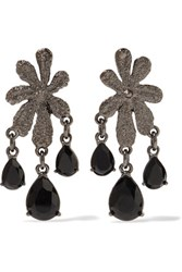 Oscar De La Renta Gunmetal Tone Crystal Clip Earrings Black