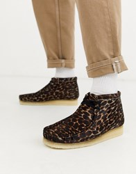 Clarks Originals Wallabee Boots Black Animal Print Brown