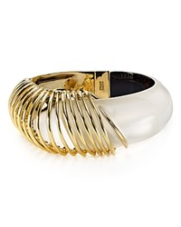 Alexis Bittar Coiled Lucite Hinge Bangle Silver Gold