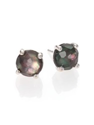 Ippolita Rock Candy Black Shell Clear Quartz And Sterling Silver Doublet Stud Earrings Silver Black