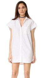 R 13 R13 Oversized Sleeveless Oxford Shirt Dress White