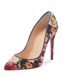Christian Louboutin Pigalle Follies Quilted Floral 100Mm Red Sole Pump Multi