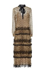 Red Valentino Tiered Leopard Dress Brown