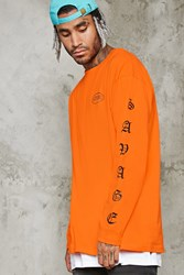 Forever 21 Savage Graphic Long Sleeve Tee Orange Black
