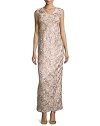 Marina Rosette Sequined Sleeveless Column Gown Taupe Brown