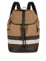 Burberry Drifton Checked Canvas Backpack Beige Multi