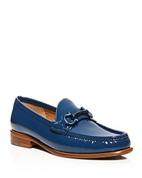 Salvatore Ferragamo Mason Patent Leather Loafers Pacific Blue