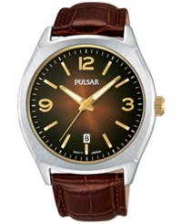 Pulsar Men's Traditional Brown Leather Strap Watch 42Mm Ps9485